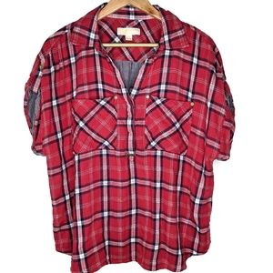 Michael Kors Short Sleeve Flannel Pullover
